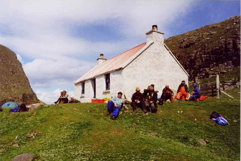Comunn Eachdraidh group beside the cottage on the Shiants