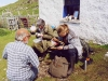 Archaeologists study the artefacts